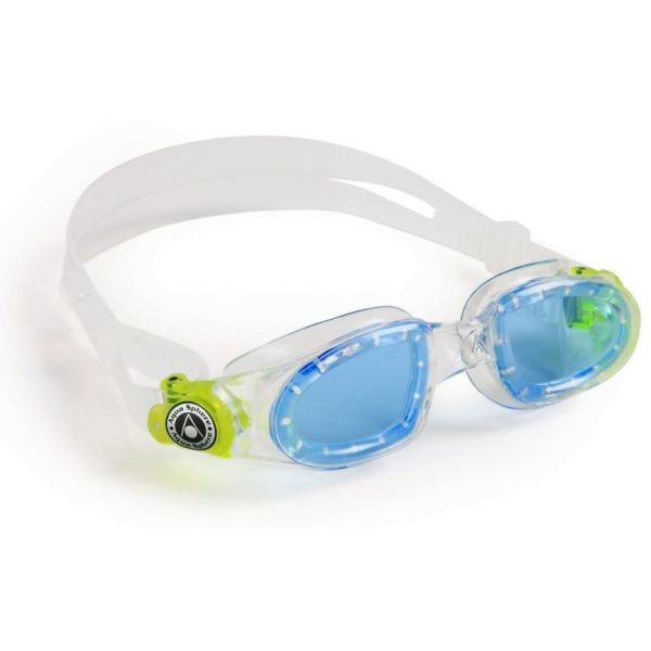 AquaSphere Moby Kid Goggle Blue Lens Clear Lime Buckles