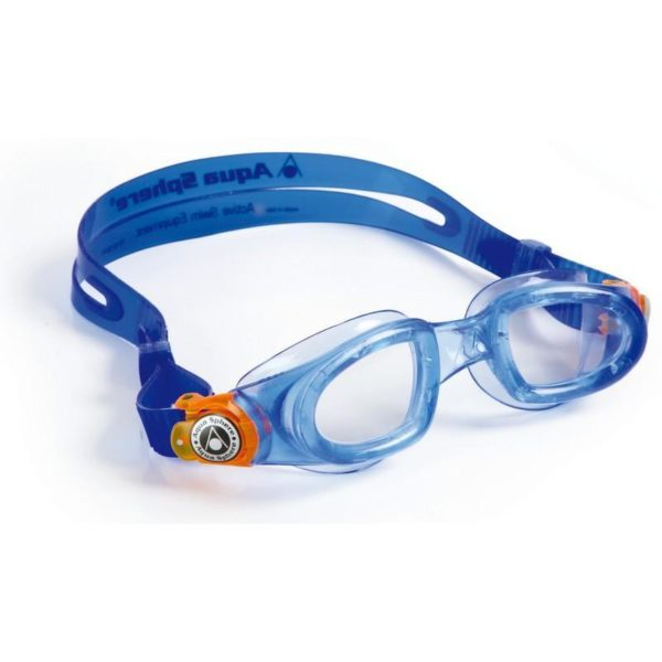 AquaSphere Moby Kid Goggle Clear Lens Blue Orange Buckle