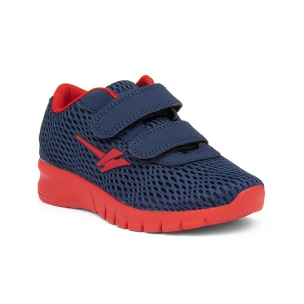 Gola Beta Kids Navy And Red Easy Fasten Trainer