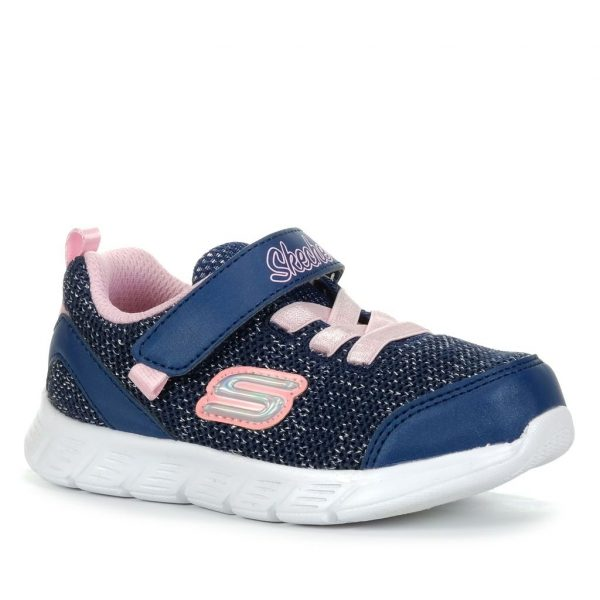 skechers girls 302107n nvpk comfy flex moving on navy pink trainers 3001062 1600