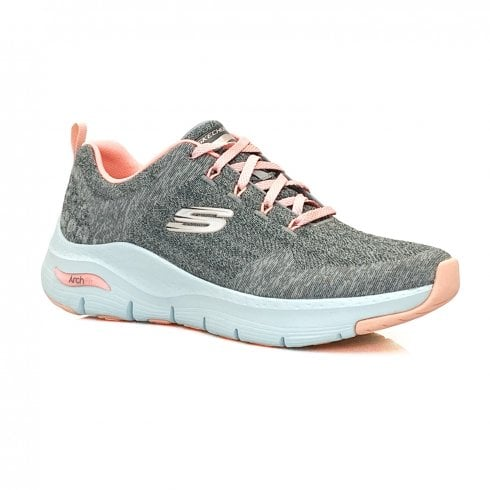 skechers womens trainer arch fit comfy wave grey pink p22887 71211 medium